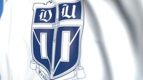 Bandeira de ondulação com emblema de Duke University, close-up Animação 3D loopable editorial filme