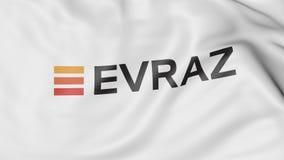Bandeira de ondulação com grupo S de Evraz A logo Rendição 3D editorial Imagem de Stock Royalty Free