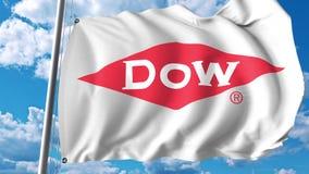 Bandeira de ondulação com logotipo de Dow Chemical Company Rendição de Editoial 3D ilustração do vetor