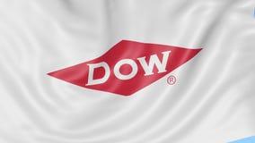Bandeira de ondulação com logotipo de Dow Chemical Company Animação do editorial do laço 4K de Seamles ilustração royalty free