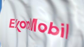 Bandeira de ondulação com logotipo de Exxon Mobil Corporation, close-up Rendi??o 3D editorial ilustração do vetor