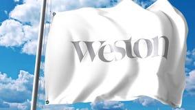 Bandeira de ondulação com logotipo de George Weston Limited contra nuvens e céu Rendição 3D editorial Foto de Stock Royalty Free