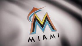 Bandeira de ondulação com logotipo profissional da equipe dos espadim de Miami Grampo editorial video estoque