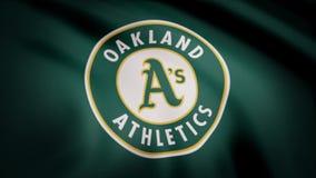 Bandeira de ondulação com logotipo profissional da equipe dos Oakland Athletics Grampo editorial vídeos de arquivo