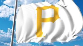 Bandeira de ondulação com logotipo profissional da equipe dos Pittsburgh Pirates Rendição 3D editorial ilustração royalty free
