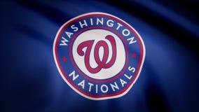 Bandeira de ondulação com logotipo profissional da equipe de Washington Nationals Close-up da bandeira de ondulação com basebol W ilustração royalty free