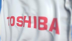 Bandeira de ondulação com logotipo de Toshiba Corporation, close-up Rendi??o 3D editorial ilustração stock