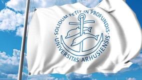 Bandeira de ondulação com o emblema da universidade de Aarhus grampo do editorial 4K ilustração stock