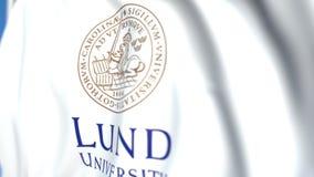 Bandeira de ondulação com o emblema da universidade de Lund, close-up Animação 3D loopable editorial video estoque