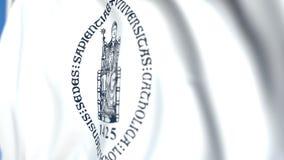 Bandeira de ondulação com o emblema de Ku Lovaina, close-up Animação 3D loopable editorial video estoque