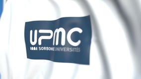 Bandeira de ondulação com o emblema de Pierre e de Marie Curie University, close-up Animação 3D loopable editorial video estoque
