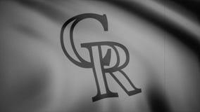 Bandeira de ondulação com o logotipo profissional monocromático, ruído da equipe dos Colorado Rockies da tevê Grampo editorial video estoque