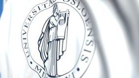 Bandeira de ondulação com a universidade do emblema de Oslo, close-up Animação 3D loopable editorial filme