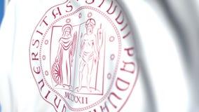 Bandeira de ondulação com a universidade do emblema de Pádua, close-up Animação 3D loopable editorial vídeos de arquivo