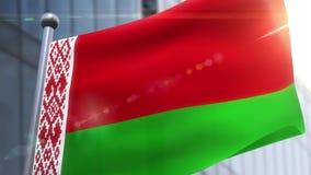Bandeira de ondulação da animação branca de Bielorrússia Rússia filme