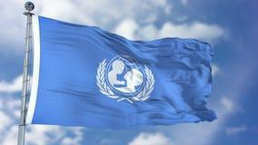 Bandeira de ondulação da UNICEF do fundo do ` s das crianças de United Nations Imagens de Stock