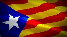 Bandeira de ondulação dando laços realística de Catalonia Ondulação nacional da bandeira de 3d Barcelona Sinal da animaçã