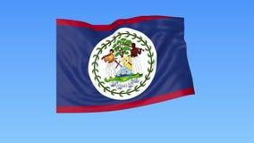 Bandeira de ondulação de Belize, laço sem emenda Tamanho exato, fundo azul Parte de todos os países ajustados 4K ProRes com alfa ilustração stock