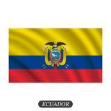 Bandeira de ondulação de Equador em um fundo branco Ilustração do vetor ilustração do vetor