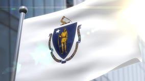 Bandeira de ondulação do estado de Massachusetts EUA ilustração stock