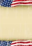 Bandeira de ondulação do grunge do cartaz americano Foto de Stock Royalty Free