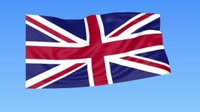 Bandeira de ondulação do Reino Unido da Grã Bretanha e da Irlanda do Norte, laço sem emenda Tamanho exato, fundo azul ilustração do vetor