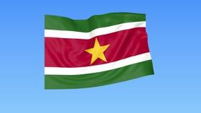 Bandeira de ondulação do Suriname, laço sem emenda Tamanho exato, fundo azul Parte de todos os países ajustados 4K ProRes com alf filme