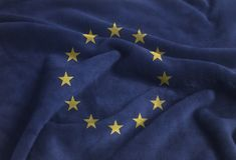 Bandeira de ondulação Rippled da União Europeia no veludo imagem de stock royalty free