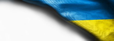 Bandeira de ondulação de Ucrânia no fundo branco imagem de stock royalty free