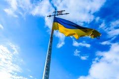 Bandeira de ondulação ucraniana fotos de stock