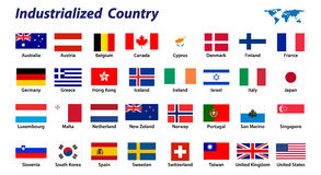 Bandeira de país 32 industrializado Fotografia de Stock Royalty Free