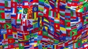 336 Bandeira de país da palavra multi que acena no fundo sem emenda contínuo do laço do vento