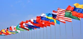 Bandeira de países na linha Fotografia de Stock