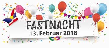 A bandeira de papel Balloons o tampão Fastnacht 2018 dos bobos da corte Fotos de Stock
