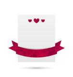 Bandeira de papel com corações e fita para Valentine Day, isolada Foto de Stock Royalty Free
