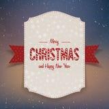Bandeira de papel grande realística do Natal com fita Fotos de Stock