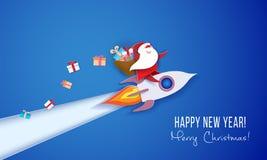 Bandeira de papel moderna do círculo com Santa Claus ilustração royalty free