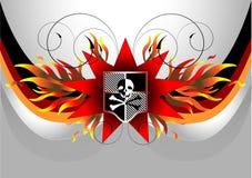Bandeira de pirata com crânio. Bandeira. Ilustração ilustração royalty free