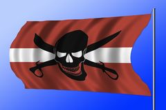 Bandeira de pirata de ondulação combinada com a bandeira letão Imagens de Stock Royalty Free