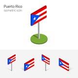 Bandeira de Porto Rico, grupo do vetor dos ícones 3D lisos isométricos ilustração royalty free