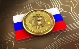 bandeira de Rússia do bitcoin 3d Fotografia de Stock Royalty Free