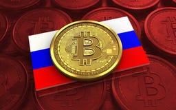 bandeira de Rússia do bitcoin 3d Imagem de Stock Royalty Free