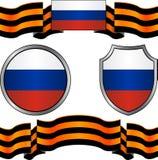 Bandeira de Rússia e da fita georgievsky Imagens de Stock Royalty Free