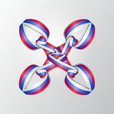 Bandeira de Rússia Fita colorida com russo tricolor Weave das fitas Ilustração do vetor Imagem de Stock