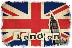 Bandeira de Reino Unido com Big Ben Imagens de Stock