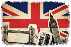 Bandeira de Reino Unido com monumentos Foto de Stock Royalty Free