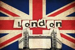 Bandeira de Reino Unido com ponte Foto de Stock