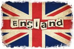 Bandeira de Reino Unido com texto Fotos de Stock