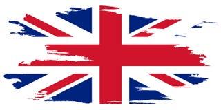 Bandeira de Reino Unido Escove a bandeira pintada do Reino Unido Entregue a ilustração tirada do estilo com um efeito e uma aquar ilustração royalty free