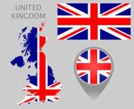 Bandeira de Reino Unido, mapa e ponteiro do mapa ilustração do vetor
